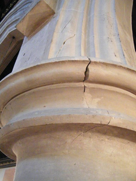 Cracks evident in stone column; columns were resin injected to improve the structural stability at Cookstown, Co. Tyrone, Northern Ireland