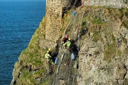Rope access and cintec anchor structural repairs at Dunluce Castle, Co. Antrim, NI
