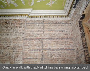 001 Horizontal crack in brickwork crack stitching repair masonry Dublin Belfast Derry Armagh Northern Ireland NI copy