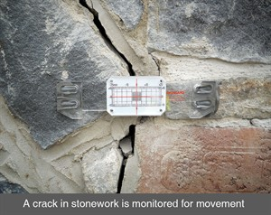 002 Crack in stone masonry structural repair monitored measured movement belfast dublin northern ireland NI