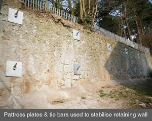 001 pattress plates tie bars retaining wall stone crack structural stability Armagh Belfast Northern Ireland NI