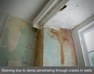 001 penetrating damp stain window lintel failure crack in wall co antrim belfast armagh northern ireland NI