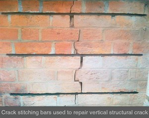 001 vertical crack in brick crack stitching structural masonry repair Dublin Belfast Armagh Northern Ireland NI Londonderry Fermanagh