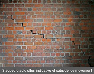 001 stepped crack in brickwork settlement movement subsidence underpinning belfast dublin armagh northern ireland NI