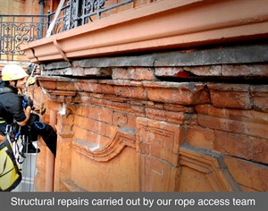 rope access IRATA masonry cracks structural repairs survey london england belfast northern ireland dublin scotland