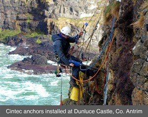 002 cintec anchors rope access dunluce rope access IRATA masonry cracks structural repairs survey london england belfast northern ireland dublin scotland