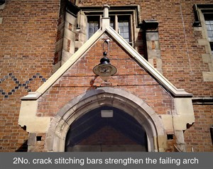 001 lintel reinforcement QUB failing arch crack stitching bars belfast northern ireland NI Dublin scotland