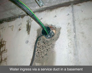 002 service duct damp leak sealing resin crack injection basement waterproofing dublin ireland belfast northern ireland NI