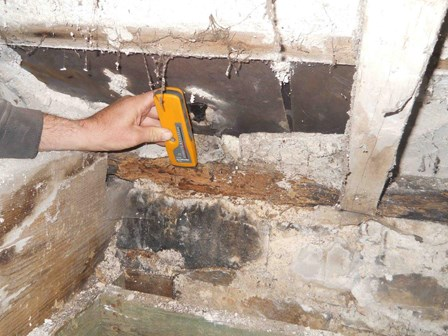 The surveyor uses an electronic damp meter to determine the moisture content of timbers affected by wood rot, at Richhill Castle, Co. Armagh, Northern Ireland, NI